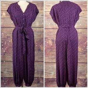 Maeve Purple and Blue Geoscope Jumpsuit Size S